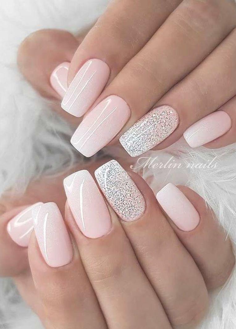 Wedding Nail Designs For Brides Bridal Nails 2019 Wedding Nails Bride Wedding Nails With Glitter Short Acrylic Nails Designs Bride Nails Short Acrylic Nails