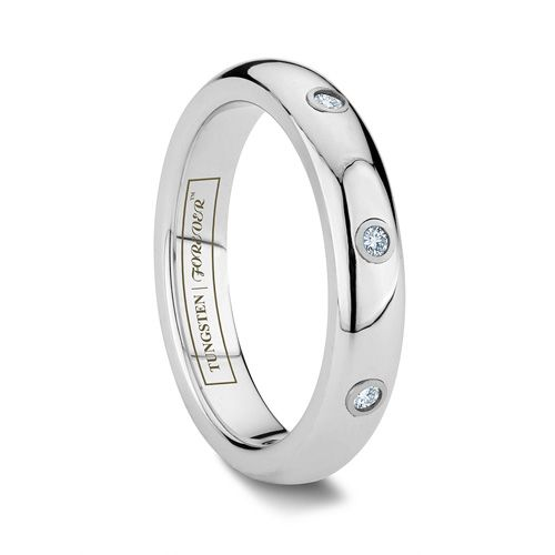 Bella 4mm Tungsten Wedding Ring With 3 Diamond Stone Inlay Womens Tungsten Wedding Rings Tungsten Wedding Rings Favorite Engagement Rings