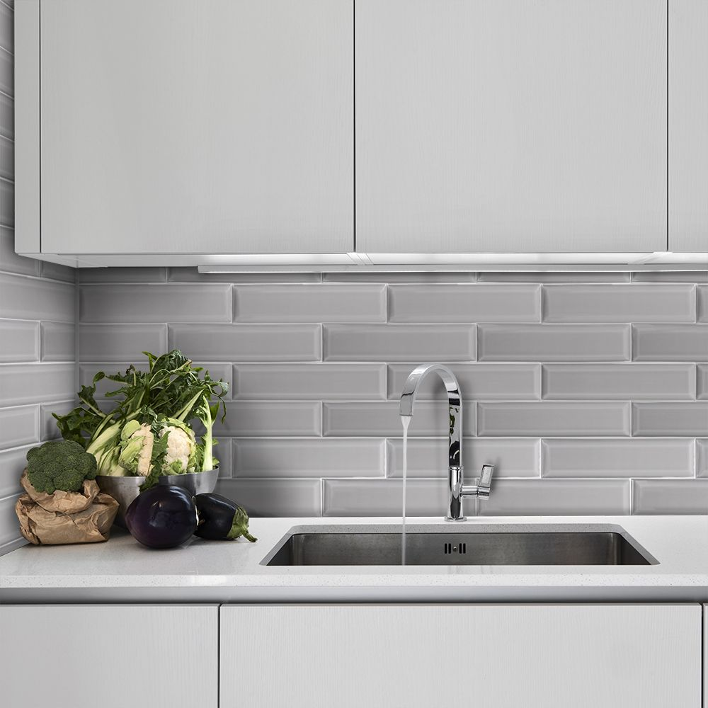 3 x 12 weather grey bevel ceramic wall tiles grey on wall tile id=75572