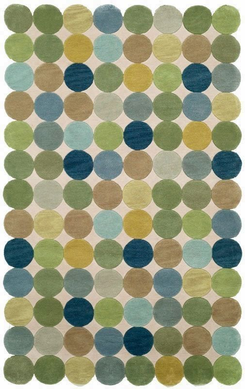 Great Amalfi Collection Amalfi Circles Ocean Blue Green Olive White And Tan  Contemporary Area Rug