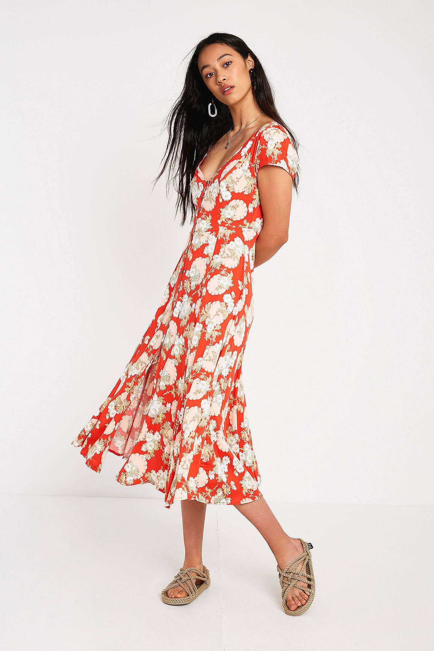 385e5824a8cb UO Malena Red Floral Button-Through Midi Dress | Urban Outfitters UK