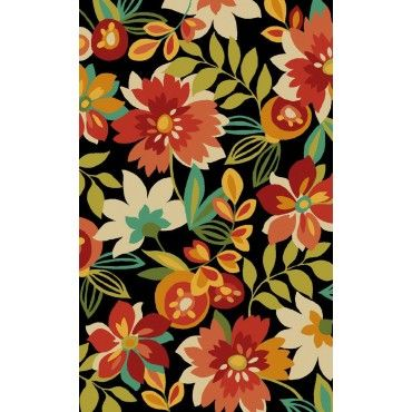 Tropical Flower Burst Area Rug Black And Orange Tropical Rugs Area Rugs Indoor Outdoor Area Rugs