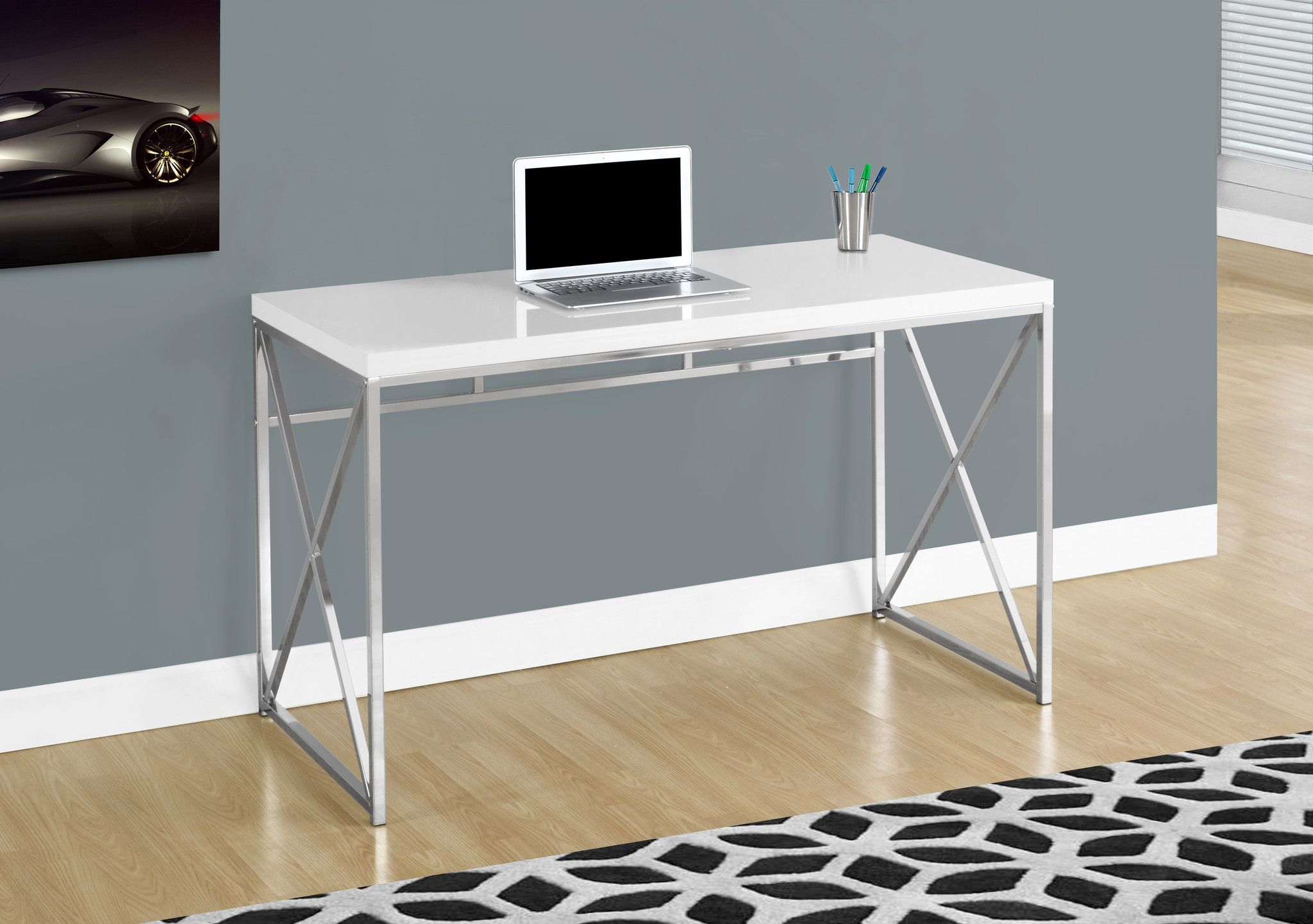 Computer Desk 48 L Glossy White Chrome Metal White Computer Desk Contemporary Desk Metal Computer Desk