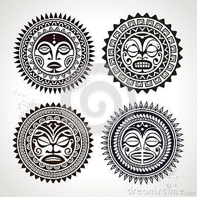 Set of polynesian tattoo styled masks by Sergey Kandakov, via Dreamstime