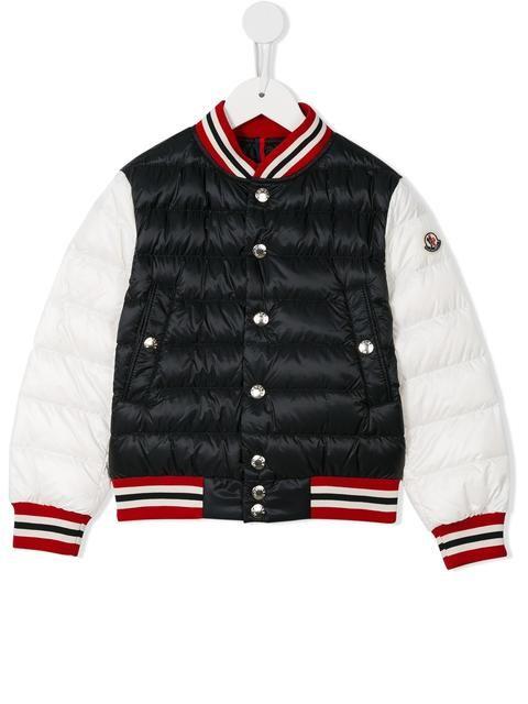 2e50e1f0d9ed Shop Moncler Kids padded bomber jacket.   Mini fashionistas   Bomber ...