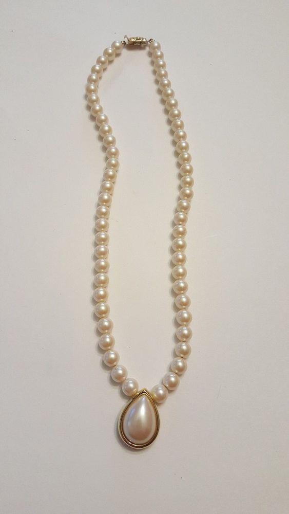 Vintage monet gold tone faux pearl pendant necklace vintage ebay vintage monet gold tone faux pearl pendant necklace vintage ebay jewelry mozeypictures Gallery