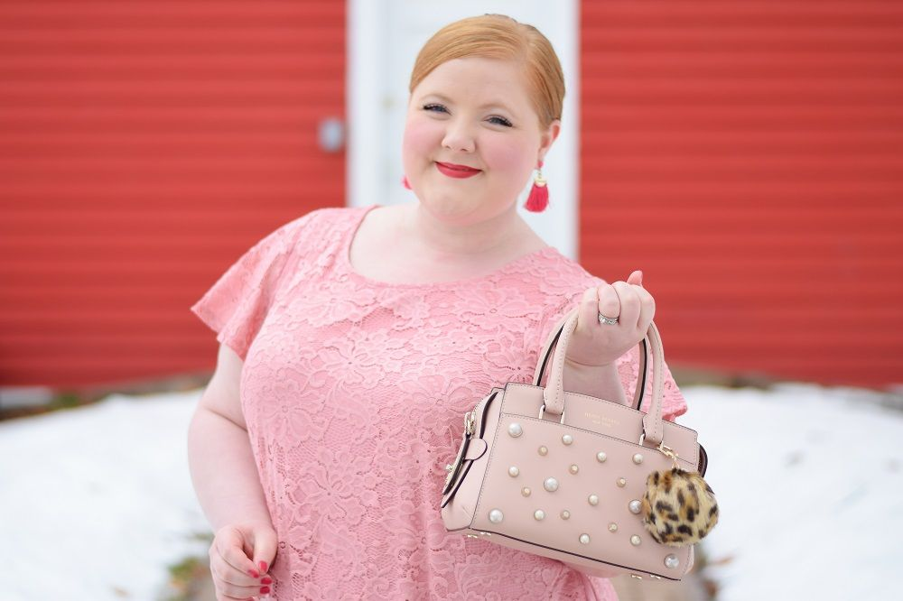 Sweet as Cherry Pie: Pairing pink and red together is a play on monochromatic dressing and balances soft, pretty pink with strong, confident red. #pinkandred #redandpink #redandpinkoutfit #pinkandredoutfit #plussizeoutfit #plussizefashion #plussizestyle #springstyle #lanebryant #henribendel #bendelgirl