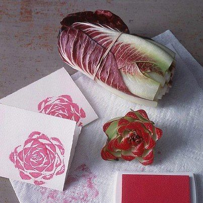 Here's an organic version, of stamping with Bok Choy, lettuce, cabbage or even celery :) pretty flower!