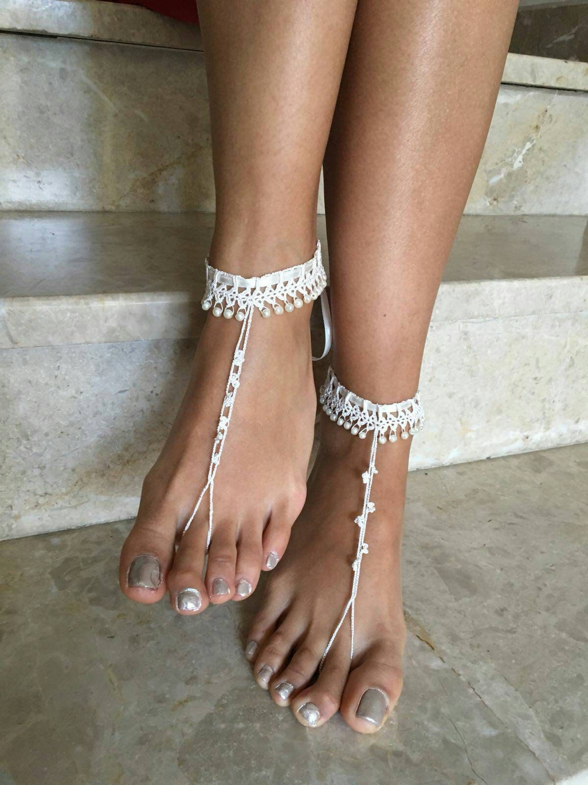Ivory Barefoot Sandals Pearl Foot Jewelry Beach Wedding