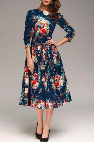 Basma Elbise Modelleri Lacivert Midi Yetim Kol Desenli Elbiseler Elbise Cicekli Elbiseler