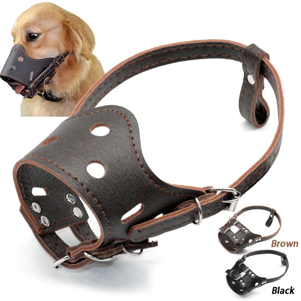 Pu Leather Dog Muzzle No Bite No Barking Dog Training Mask For