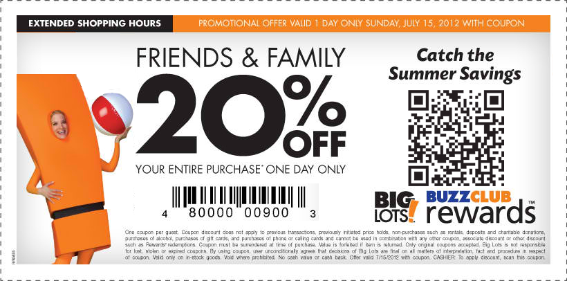 20 off everything Sunday at Big Lots Big lots, Coupon apps