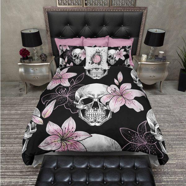Lightweight Pink Lilly Skull Bedding Black And Pink Skull Design Skull Comforter Cover Skull Duv Duvet Bedding Sets Duvet Bedding Skull Bedding