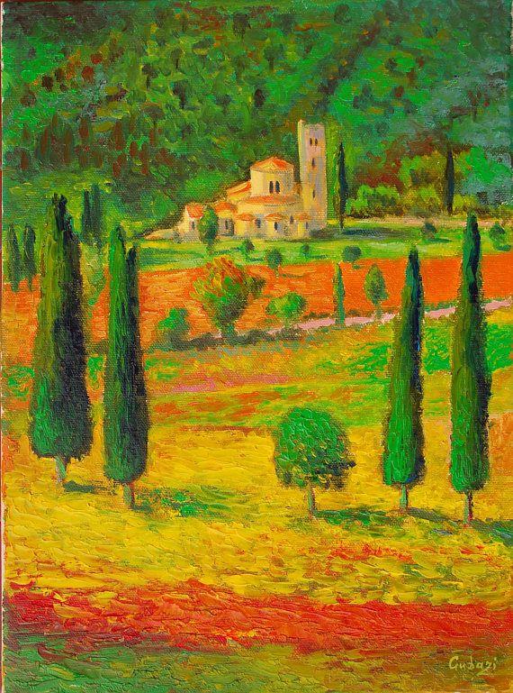 Italy Landscape Tuscany Oil Painting Italian Wall Art Tuscan | Anty ...
