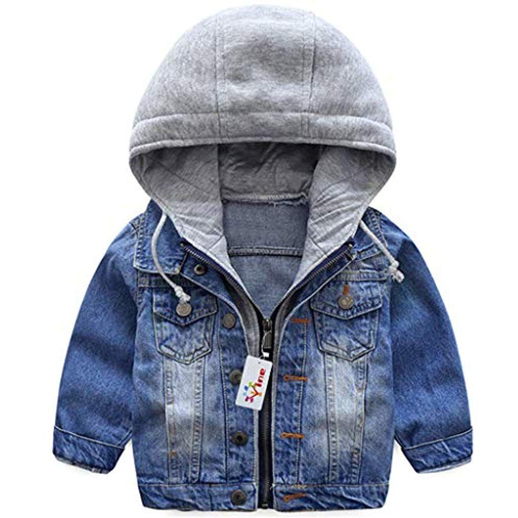 Fashion Kids Baby Boys Coat Wash soft denim jacket Hooded Outerwear