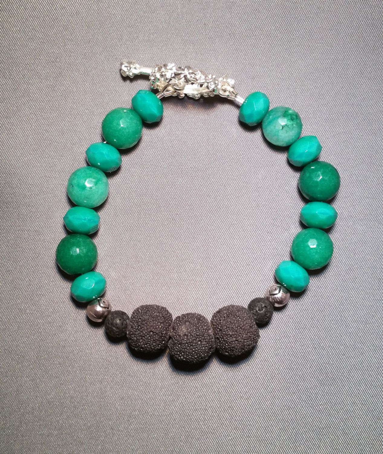 Teal Green Apatite Black Lava Bead Diffuser Bracelet for Essential Oils Aromatherapy by NavigatingBeauty on Etsy