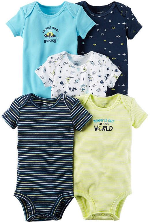 1cdf30f2024 Carter s Little Baby Basics Boy 5-Pack Short Sleeve Bodysuits ...