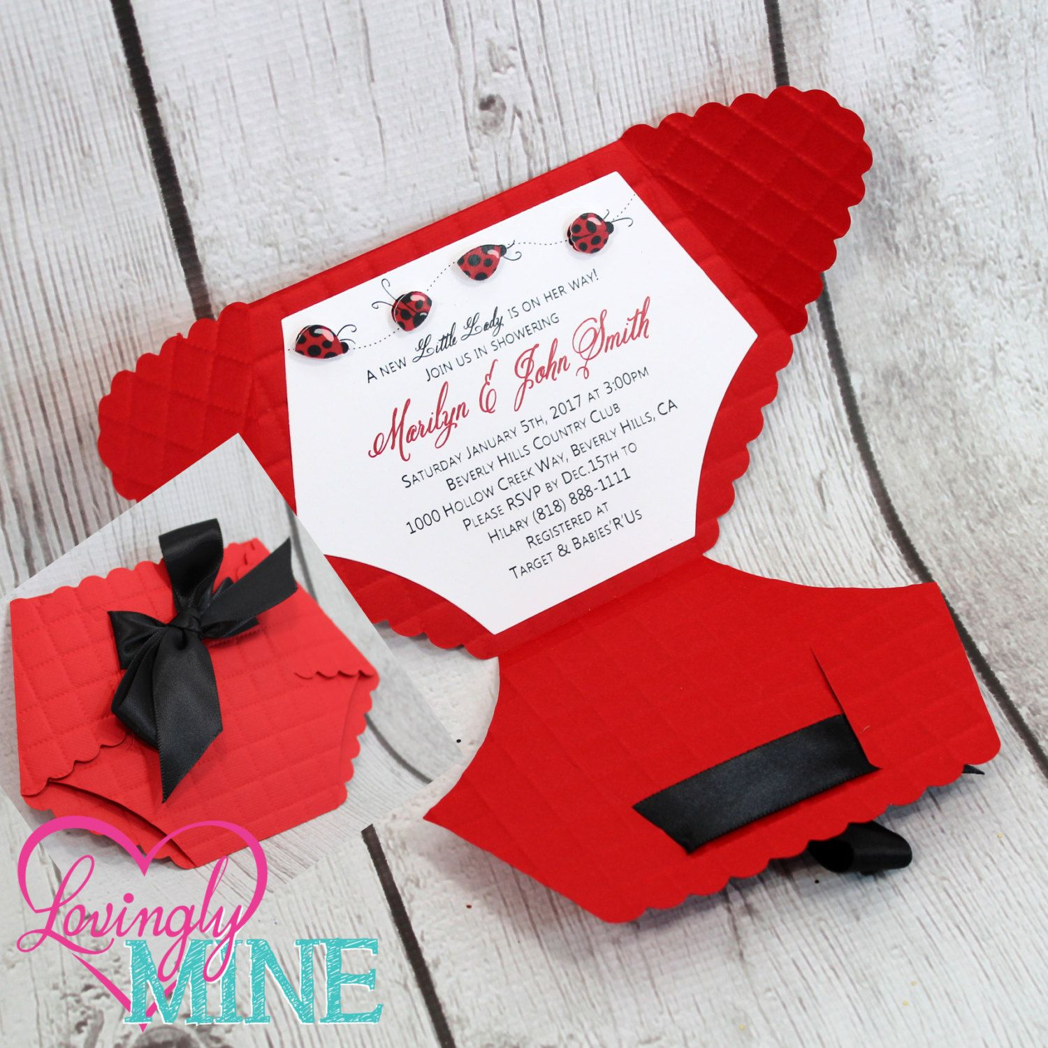 Red Black Ladybug Deluxe Diaper Shape Baby Shower Invitations