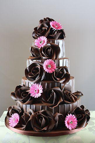 Chocolate Rose & Sugar Flower Cake