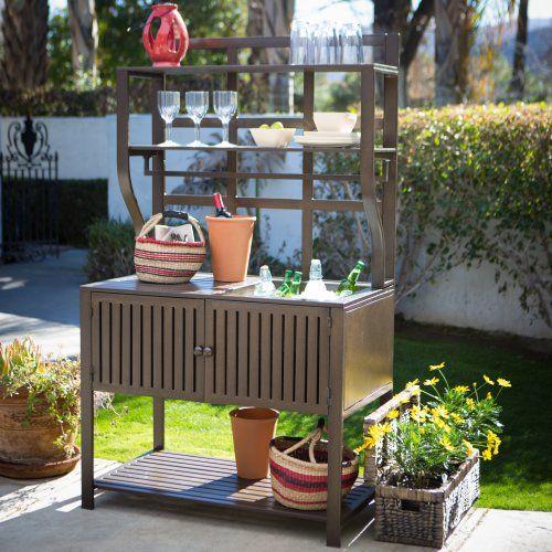 Belham Living Modern Metal Outdoor Potting Bench With