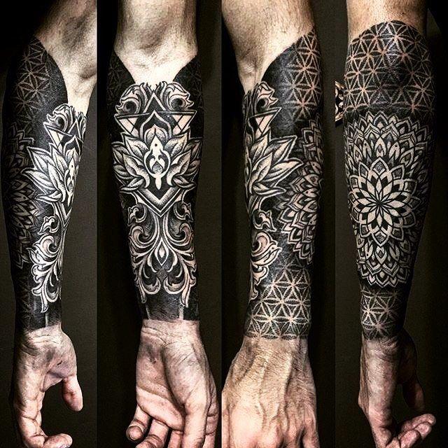 geometric mandala half sleeve tattoo by stonedblack underratedink tattoo pinterest. Black Bedroom Furniture Sets. Home Design Ideas