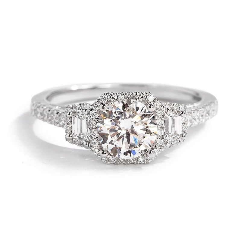 Sylvie Bridal Collection Triple Diamond Engagement Ring Setting with Emerald Cuts