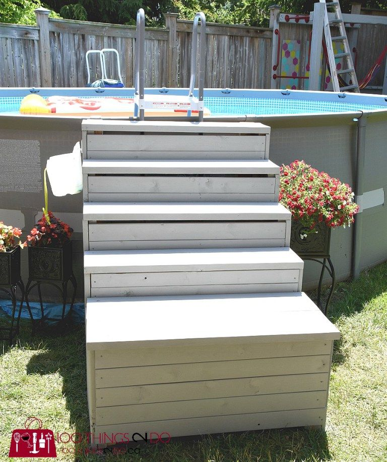 Diy above ground pool ladder stairs above ground pool