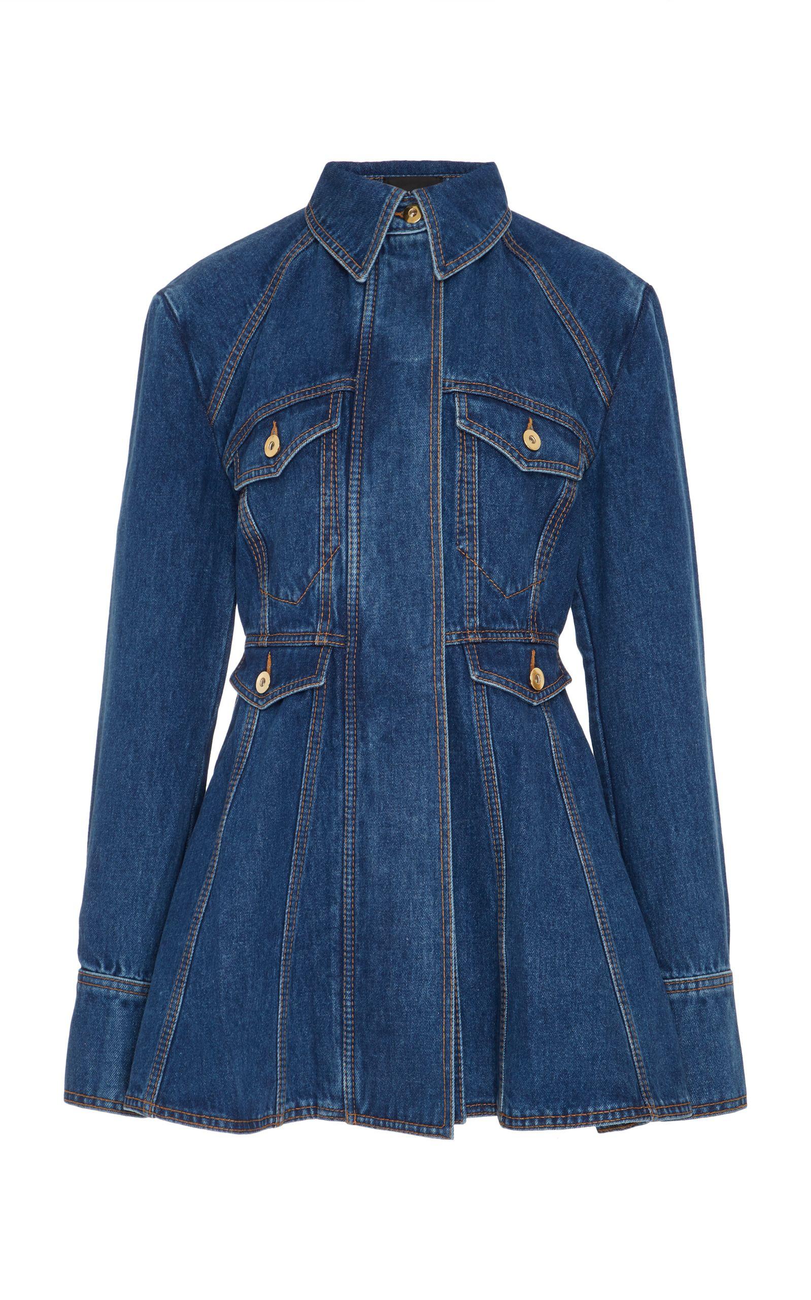 Ellery Waymon Flared Denim Jacket Modesens Denim Flares Denim Jacket Peplum Jacket Outfit [ 2560 x 1598 Pixel ]