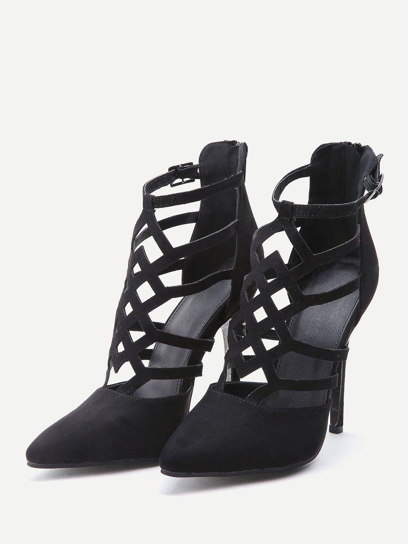 c139ff199d5 Black Cutout Zipper Back Stiletto Heels | Corduroy & Velvet ...