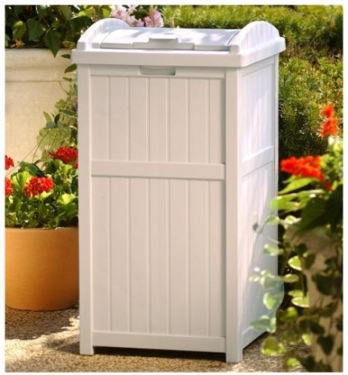 Outdoor Patio Hideaway Resin Trash Can Garbage Bin Waste Container Locking Lid Suncast