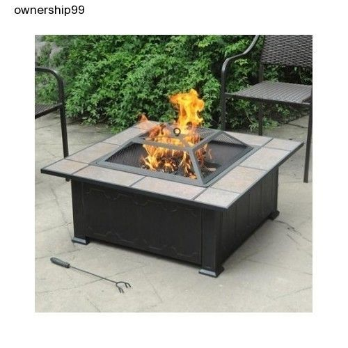 Fire Pit Table Tile Top Outdoor Fireplace Heater Backyard Deck Firepit Square