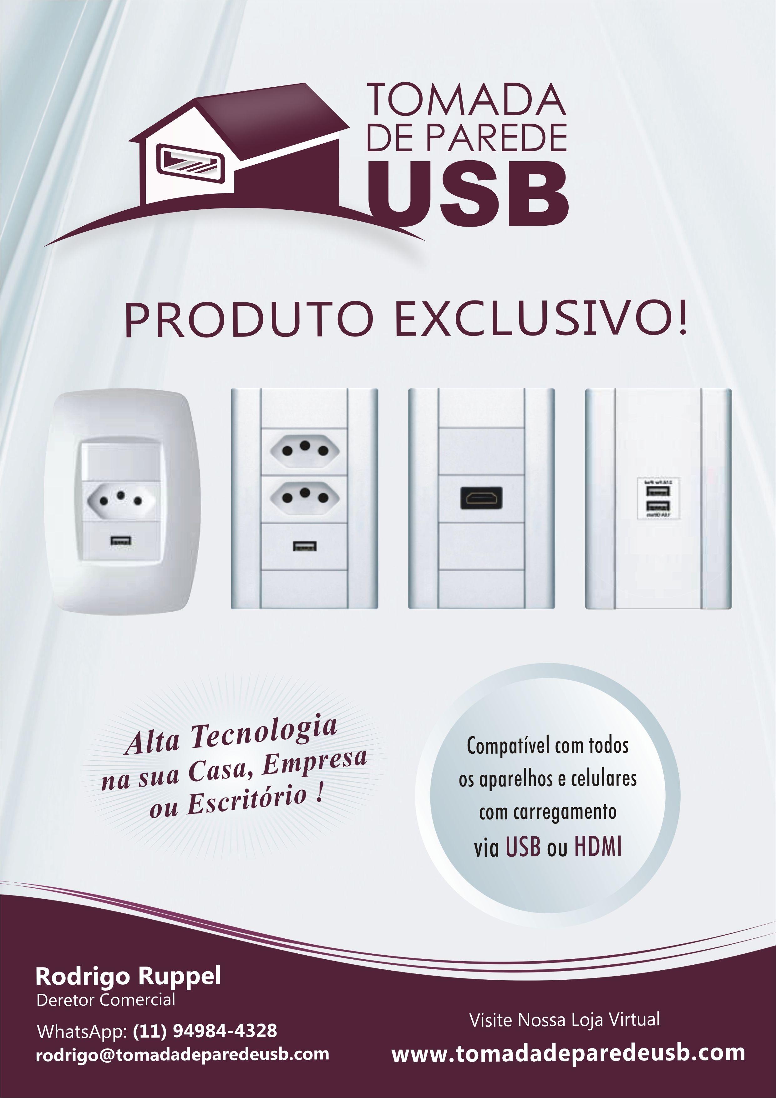Tomada USB de Parede Plus 4 Branca - Tomada USB | Organização ...