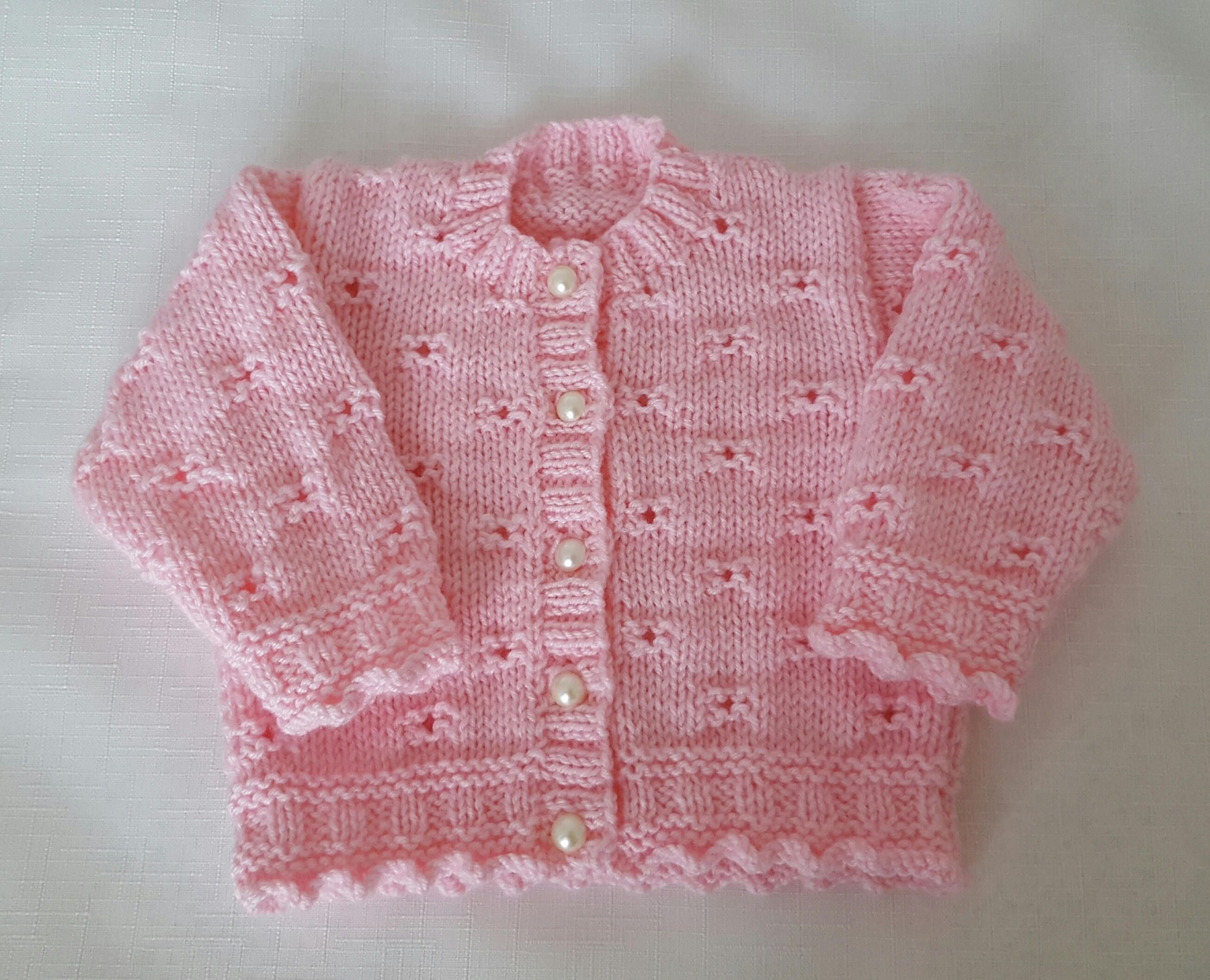 Knitted Baby Sweater Hand Knit Pink Cardigan Girls