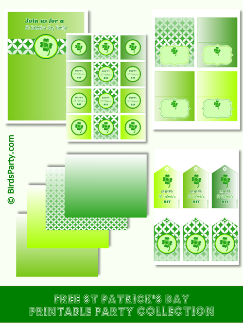 St Patrick's Day FREE Party Printables by BIrd's Party