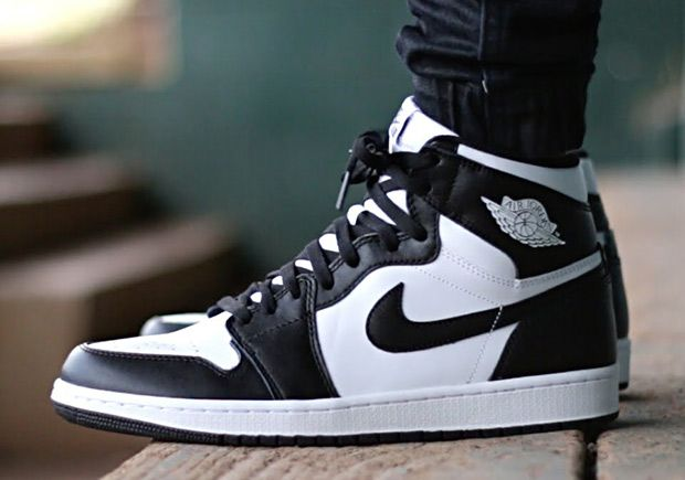 Men Air Jordan 1 Black White 2017 Shoes