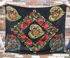 Antique 19thC Chase Wool Carriage Blanket Cats & Horses with Glass Eyes, NR