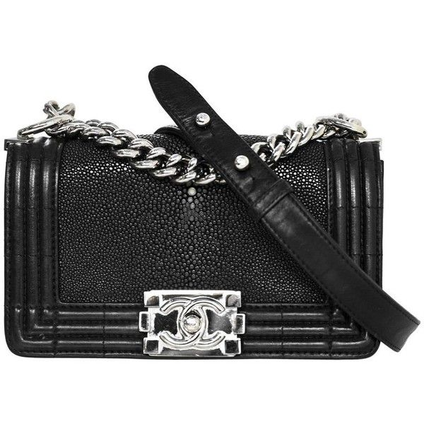 75b74489b1d960 Preowned Chanel Black Stingray & Leather Small Boy Crossbody Bag ($4,000) ❤  liked on Polyvore featuring bags, handbags, shoulder bags, black, ...