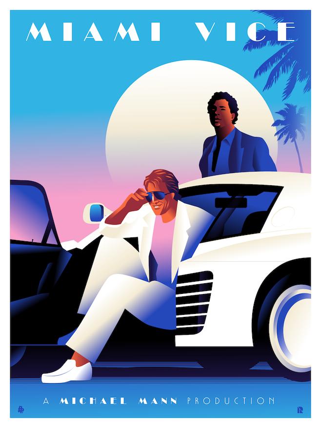 Miami Vice Tribute Poster Rodolfo Reyes Miami Vice Miami Vice Theme Miami