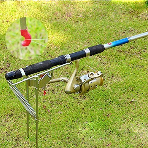 Fishing rod holder with automatic tip up hook setter for Fishing hook storage