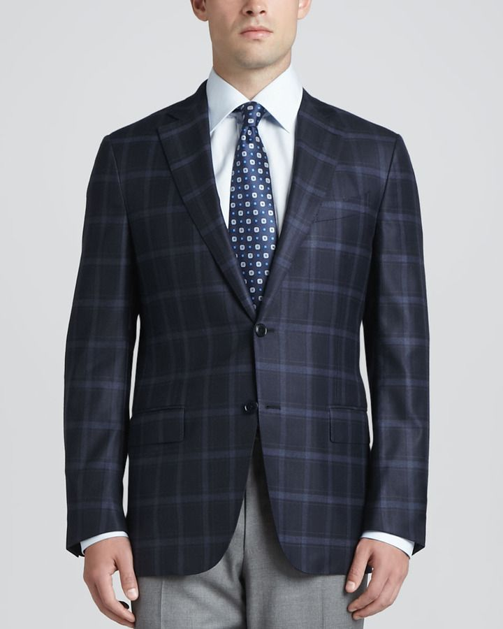 Regildo Zegn Plaid Two Button Sport Coat Navy | Coats, Shops and Plaid