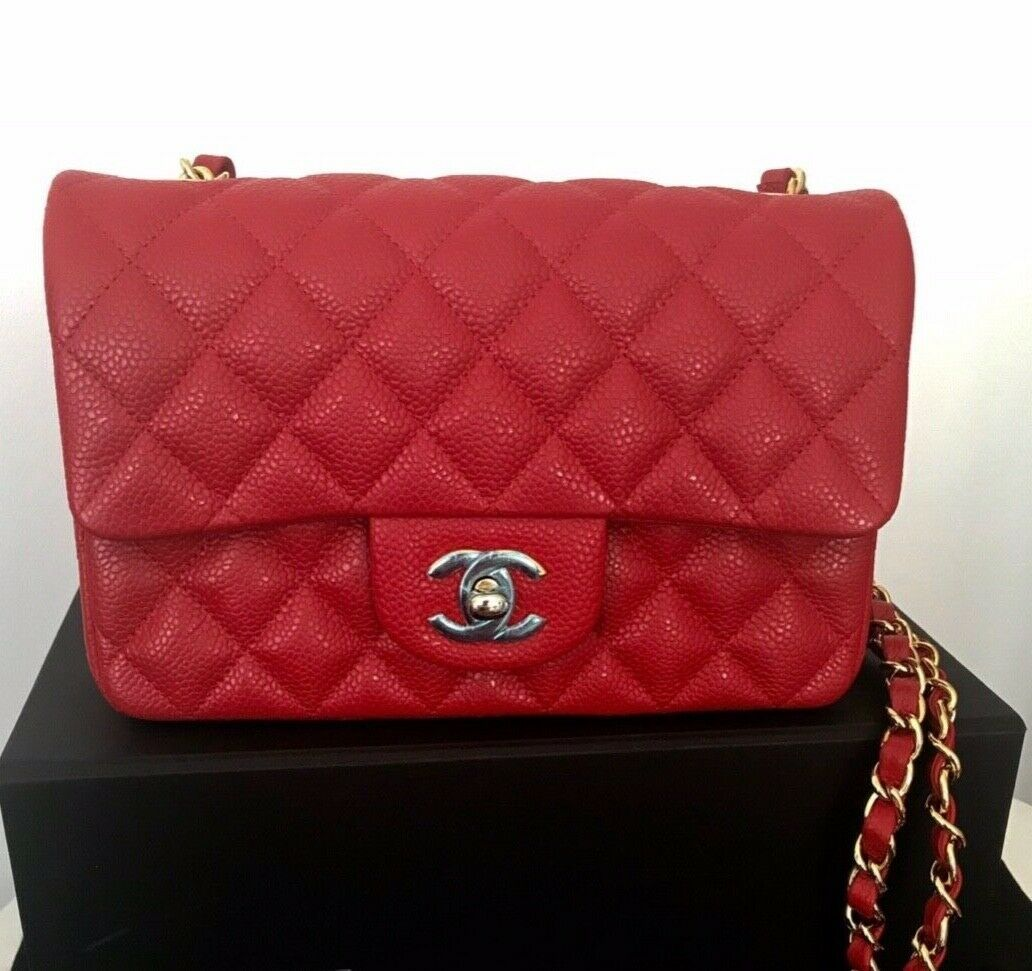 FORSALE CHANEL RED QUILTED CAVIAR MINI FLAP BAG GOLD HW
