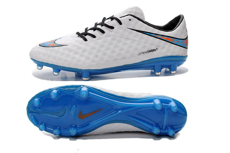 Popular 2014 Nike Hypervenom Phantom FG White Blue Orange 6399