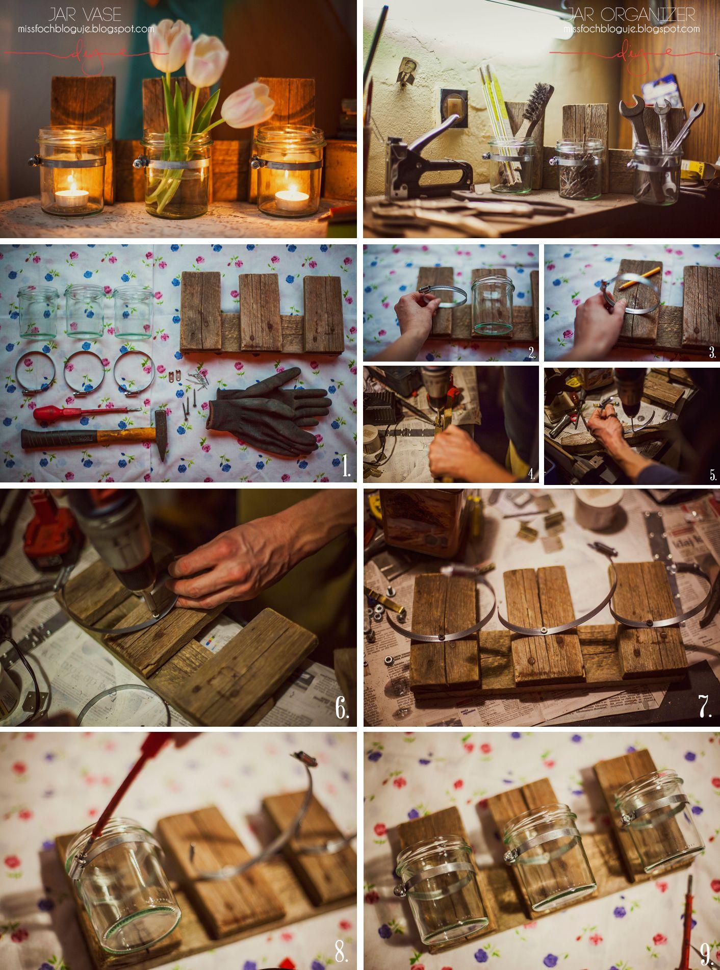 Mason Jar Vase  www.missfochbloguje.blogspot.com  handmade diy ideas organiser desk office home