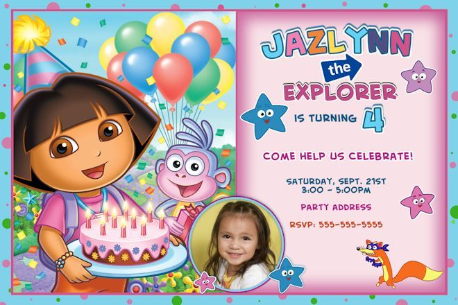Download Now Free Template Dora The Explorer Birthday Party Invitations Explorer Birthday Party Explorer Invitation Printable Birthday Invitations