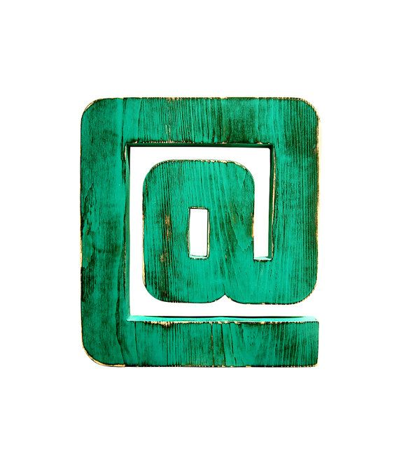 At Symbol Pictured In Teal Wall Sign Wooden By Timberandcompany