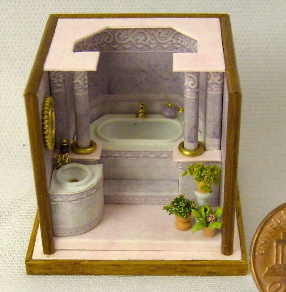 Lussuoso bagno roombox scala 1/144 fatto a mano by minifromItaly