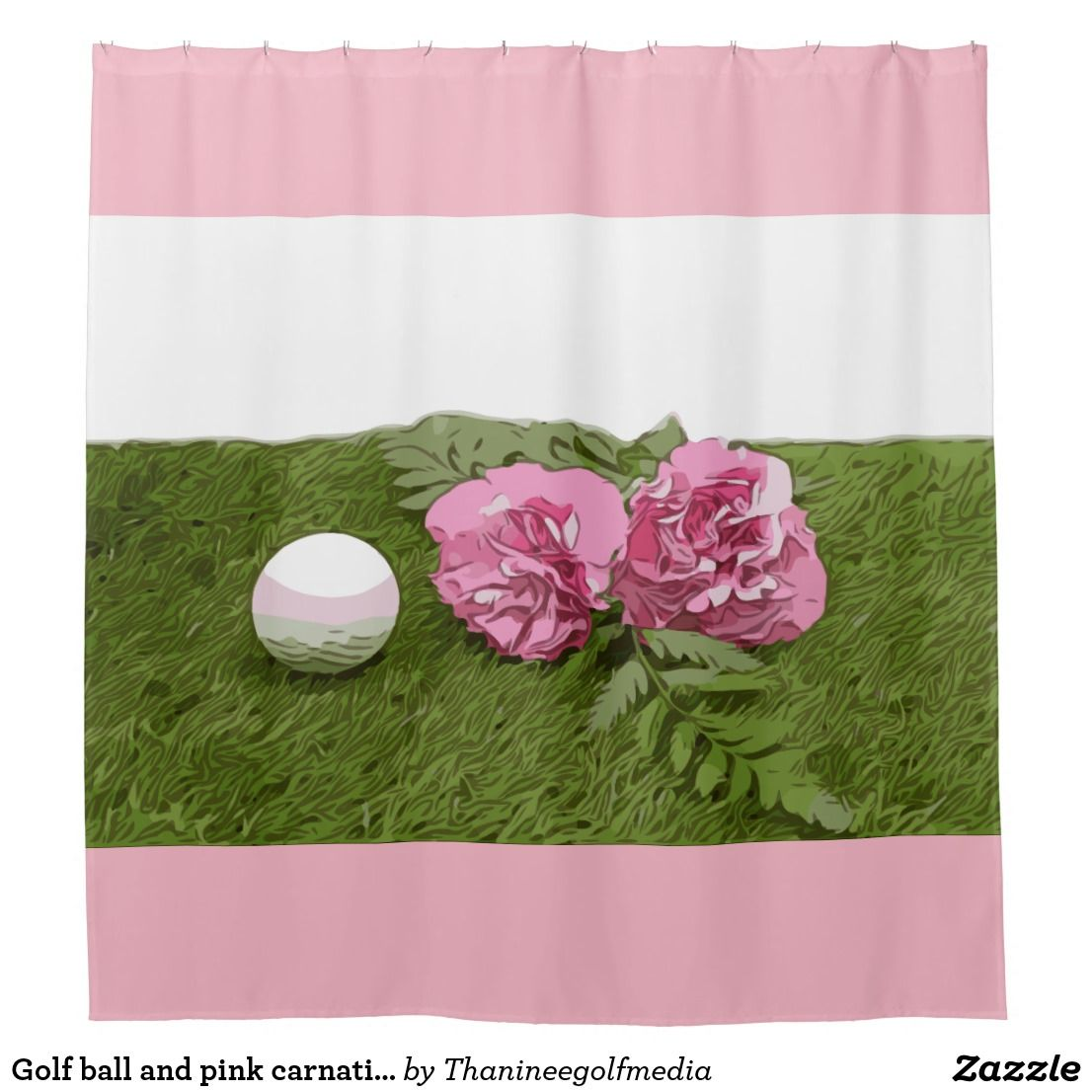 Golf Ball And Pink Carnation Flower On Green Shower Curtain