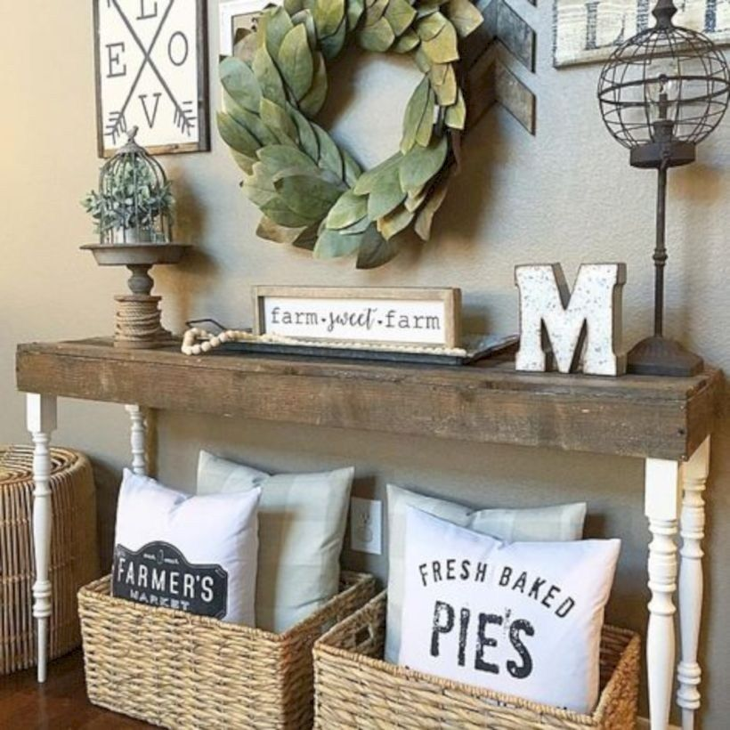 25 Editorial Worthy Entry Table Ideas Designed With Every: 45 DIY Farmhouse Entryway Inspirations