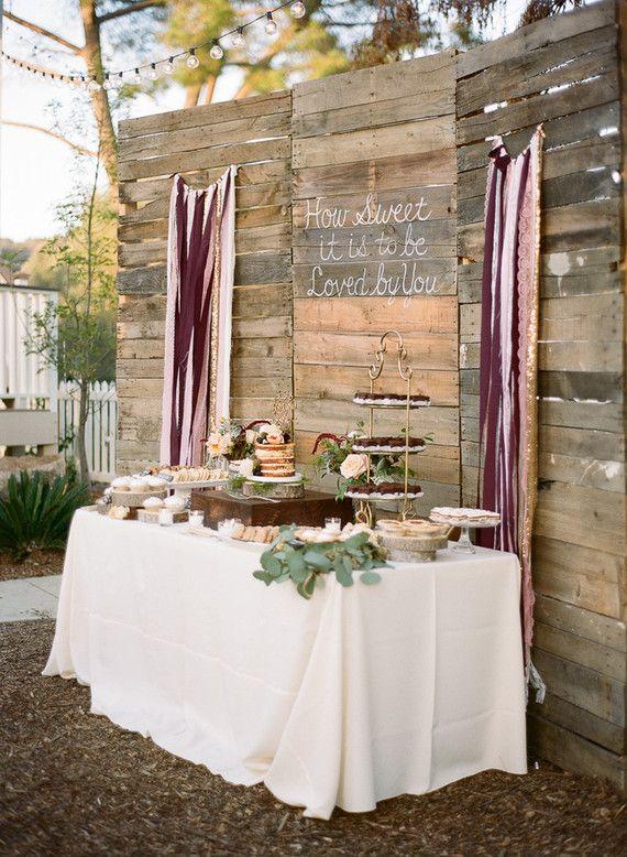 Rustic Diy Farm Wedding Wedding Dessert Table Rustic Rustic Wedding Desserts Wedding Party Table Backdrop