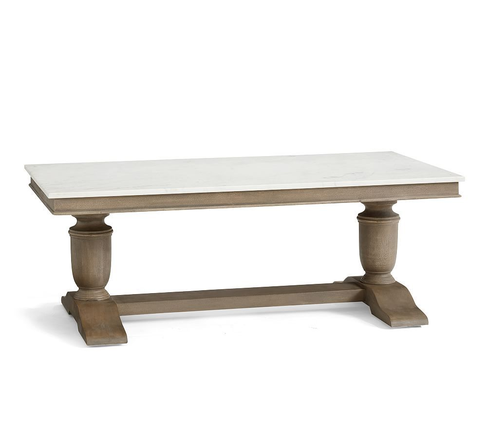 Alexandra Marble Rectangular Coffee Table Gray Wash